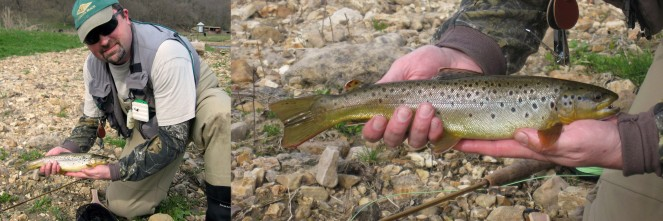 The Author's Brother-in-law, Chuck, with a Big Green River Brown Trout
