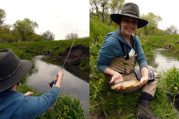 Caitlin tandem of pics wit brown trout